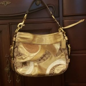 Gold patchwork hobo coach purse